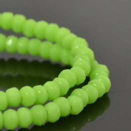Czech Firepolish Glass - 3x2mm Faceted Donut Rondelle - Spring Shoots (Strand 50)