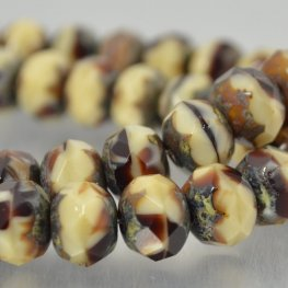 Czech Glass - 9x6mm Faceted Donut Rondelle - Choco-Cream (25)