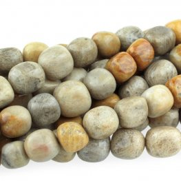 Stone Beads - 8x10mm Tumbled Nugget - Fossil Coral (strand)