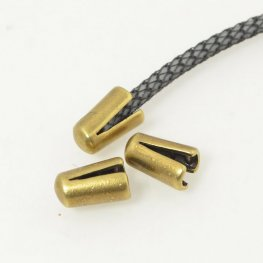 Findings - 2mm Round Leather - ID 2mm End Cap (No Loop) - Antiqued Brass (10)