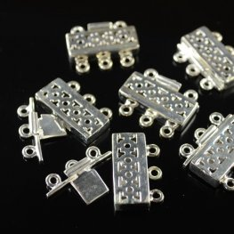 Box Clasp - 3-Strand Moroccan Screen - Sterling