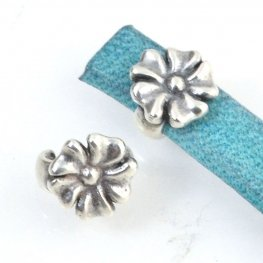 Beads - 5mm Flat Leather - Open Flower Stud - Antiqued Silver (5)