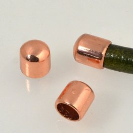 Findings - 5mm Round Leather - Rounded End Cap - Bright Copper (2)