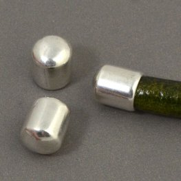 Findings - 5mm Round Leather - Rounded End Cap - Antiqued Silver (2)
