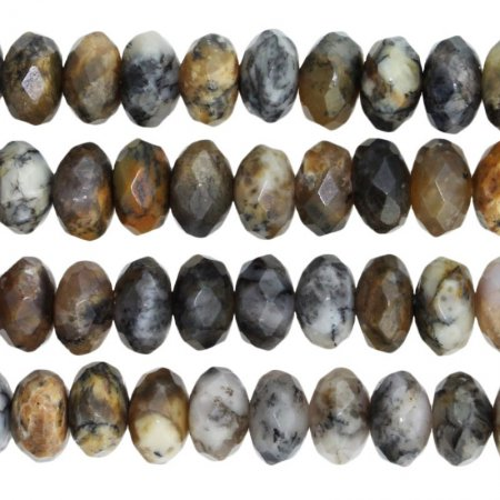 Stone Beads - 8mm Faceted Rondelles - Black Moss Opal (strand)