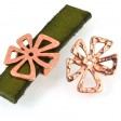 Beads - 10mm Flat Leather - Hammered Crazy Flower - Bright Copper