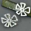 Beads - 10mm Flat Leather - Hammered Crazy Flower - Bright Silver