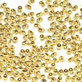 Czech Seedbeads - 2-Hole MiniDuos - 24 K Gold Plated