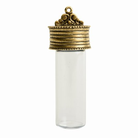 Glass - Bottle with Top - Glass - Antique Gold