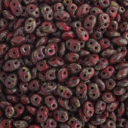 Czech Seedbeads - 2-Hole Superduos - Opaque Red Picasso (100 g)