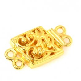 Box Clasp Filigree Parallelogram - Bright Gold Plated
