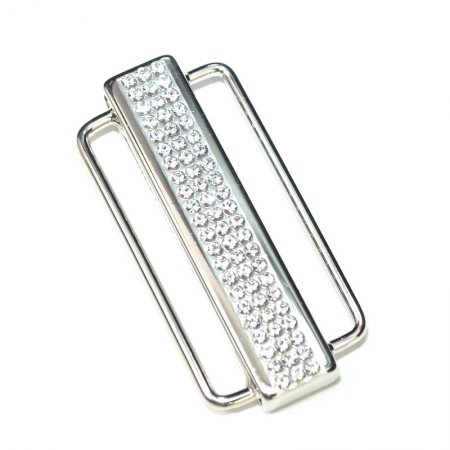Magnetic Clasp Bar with Rhinestones 1.5in - Crystal - Silver Manager Special