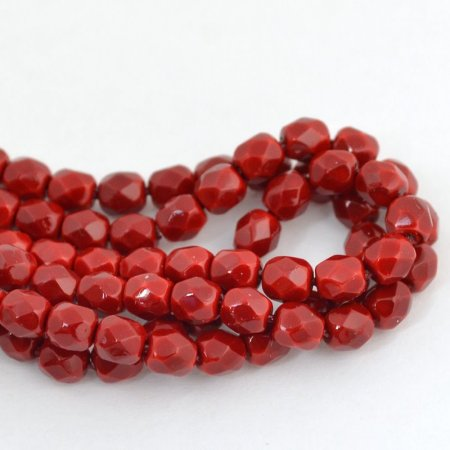 Firepolish - 4mm Faceted Round - Parisian Red (50)
