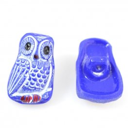 Czech Glass Button - 12mm Startled Owl - Cobalt Blue