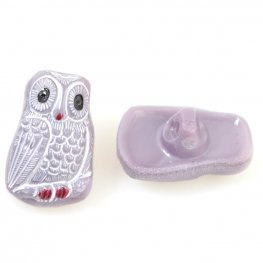 Czech Glass Button - 12mm Startled Owl - Dusky Plum