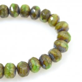 Firepolish - 8x6mm Faceted Donut - Greenery Picasso (strand 25)
