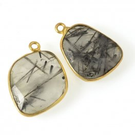 Stone Pendant - 15x17mm Faceted Freeform Rectangle - Tourmalinated Quartz - Gold Plated