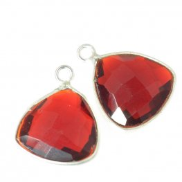 Stone Pendant - 11x13mm Faceted Shield - Deep Red Hydro Quartz - Silver Plated