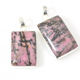 Stone Pendant - Rectangle - Rhodonite - Silver Plated