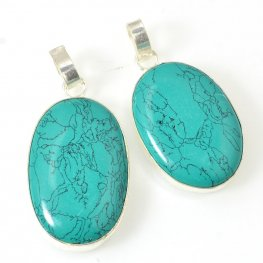 Stone Pendant - Oval - Turquoise (Imitation) - Silver Plated