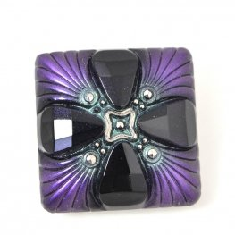 Czech Glass Button - Square Deco Cross - Aubergine