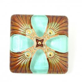 Czech Glass Button - Square Deco Cross - Egyptian Pool