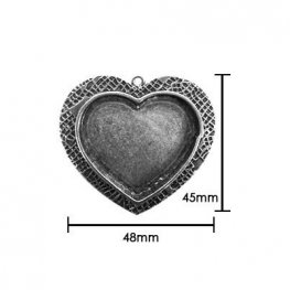 Resin Bezel Tray - Large Milan Heart - Antiqued Silver