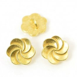 Metal Buttons - Plumeria Swirl - Bright Gold Plated