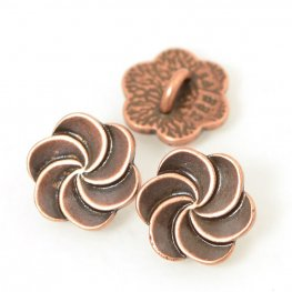 Metal Buttons - Plumeria Swirl - Antiqued Copper
