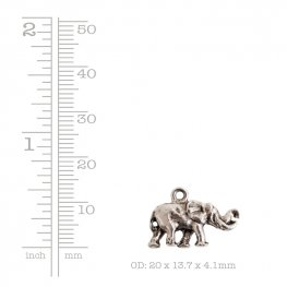Charm - Small Elephant - Antique Gold