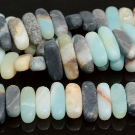 Stone Beads - 5x15mm Centre Drilled Flat Chip - Matte Black Gold Amazonite (strand)