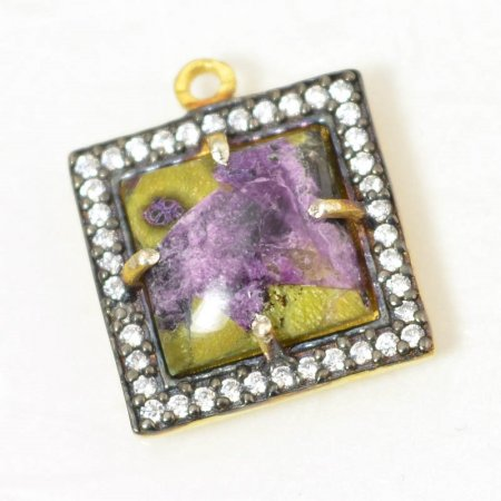 Stone Pendant - Limited Edition - Square Pendant - Phosphosiderite - Gold Plated