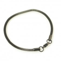 Finished Chain - Euro-Style Bracelet - 7.5in Woven Chain - Black Stainless Steel