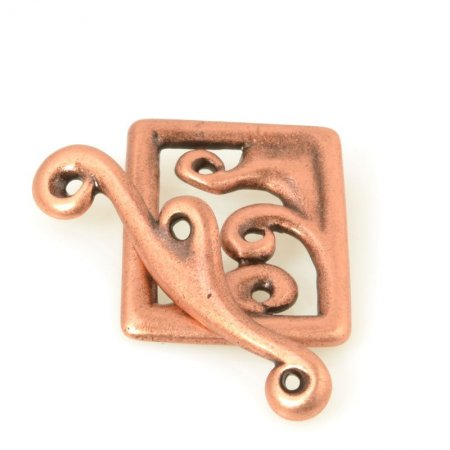 Toggle Clasp - Framed Waves - Antiqued Copper