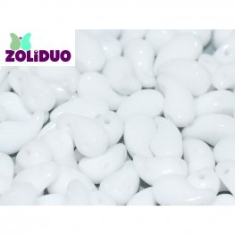 Czech Shaped Beads - 2-Hole Zoliduo - RIGHT - Chalk White