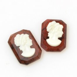 Glass Cameo Cabochon - 13x18mm Grecian Lady/Octagon - Tortishell/Cream