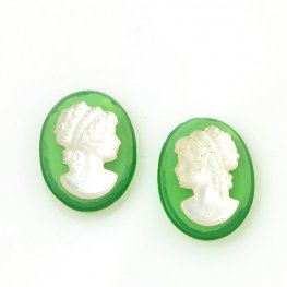 Glass Cameo Cabochon - 13x18mm Grecian Lady/Oval Mirror Pair - Green/MOP (2)
