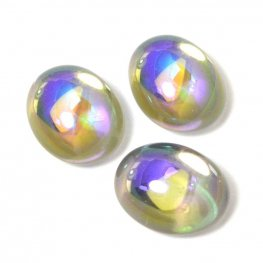 Glass Cabochon - 8x10mm Oval - Crystal AB