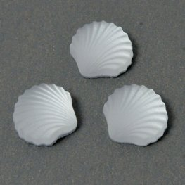 Glass Cabochon - 8mm Scallop Shell - Matte Crystal