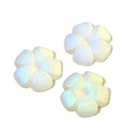 Glass Cabochon - 8mm Flat Flower - Matte Crystal AB