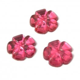 Glass Cabochon - 8mm Flat Flower - Ruby Pink