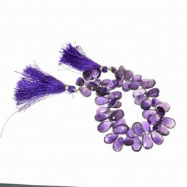 Stone Beads - Limited Edition - Faceted Flat Drop - Dark Amethyst (strand)