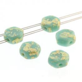 Czech Shaped Beads - 2-Hole Honeycombs - Turquoise Green Gold Splash (Strand of 30)