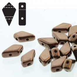 Czech Shaped Beads - 2-Hole Kite Beads - Jet Dark Bronze