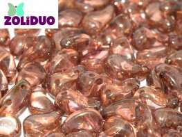 Czech Shaped Beads - 2-Hole Zoliduo - RIGHT - Transparent Red Lustre