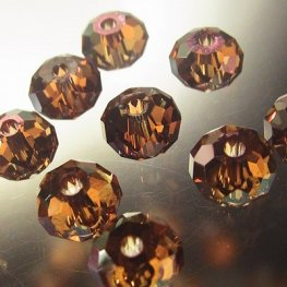 Swarovski Bead - 6mm Faceted Donut (5040) - Crystal Copper (12)