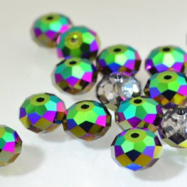 Swarovski Bead - 8mm Faceted Donut (5040) - Crystal Scarabaeus Green (6)