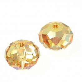 Swarovski Bead - 8mm Faceted Donut (5040) - Crystal Metallic Sunshine (6)