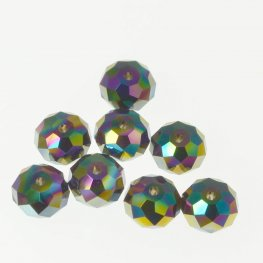 Swarovski Bead - 8mm Faceted Donut (5040) - Crystal Rainbow Dark 2X (6)