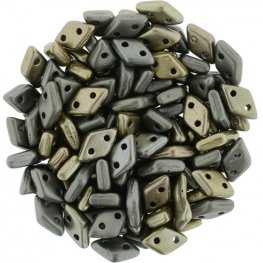 Glass Beads - Czechmates - 2-Hole Diamonds - Matte Metallic Leather